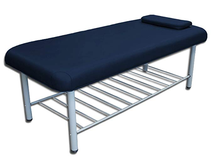 TOA Metal Framed Stationary Spa Massage Table Bed w/ Tray Rack