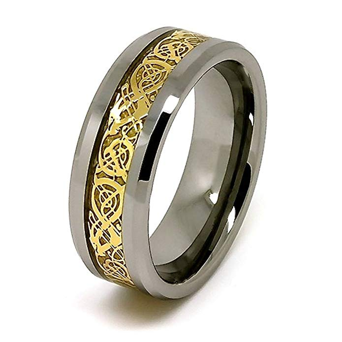 8mm Polished Tungsten Wedding Band with Golden Colored Celtic Dragon Inlay