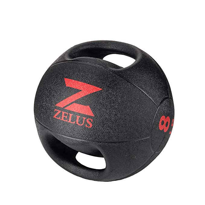ZELUS Dual Grip Medicine Ball Weight Exercise Ball with Durable Rubber & Textured Grip for Strength Balance Training- Weight Sizes 6/8/10/12/14/16/20LBS Available