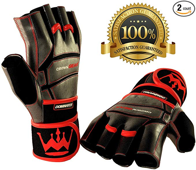 Weightlifting Gloves for Gym Fitness Bodybuilding - Dominator Leather Crossfit Cross Training Gloves W. Wrist Strap Wrap - Best Weight Lifting Gloves with Wrist Support for Heavy Lifting