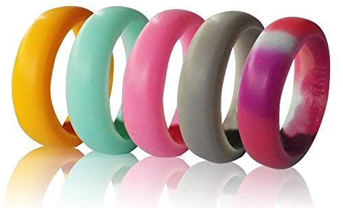 Silicone Wedding Rings for Women by FitME - Premium Quality Silicone Wedding Band, 5 Pack - Rubber Wedding Bands – Pink, Teal Turquoise, Special Camo, Orange, Gray