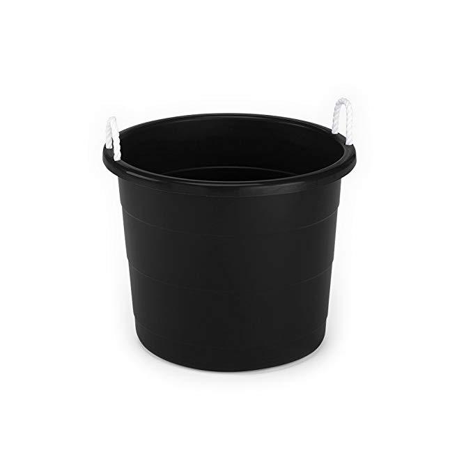 Homz Rope Handle Tub, 17 Gallon, Black, Set of 8
