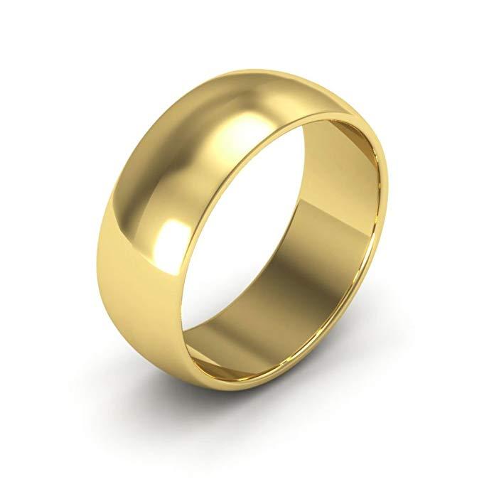14K Yellow Gold men's and women's plain wedding bands 7mm half round