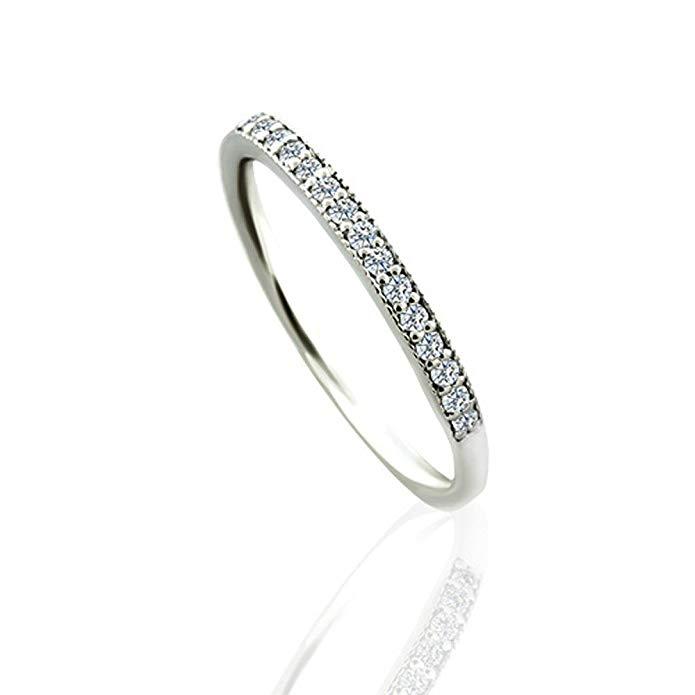 0.15CT Diamond 14K White Gold Milgrain Wedding Band 2.1mm Wide