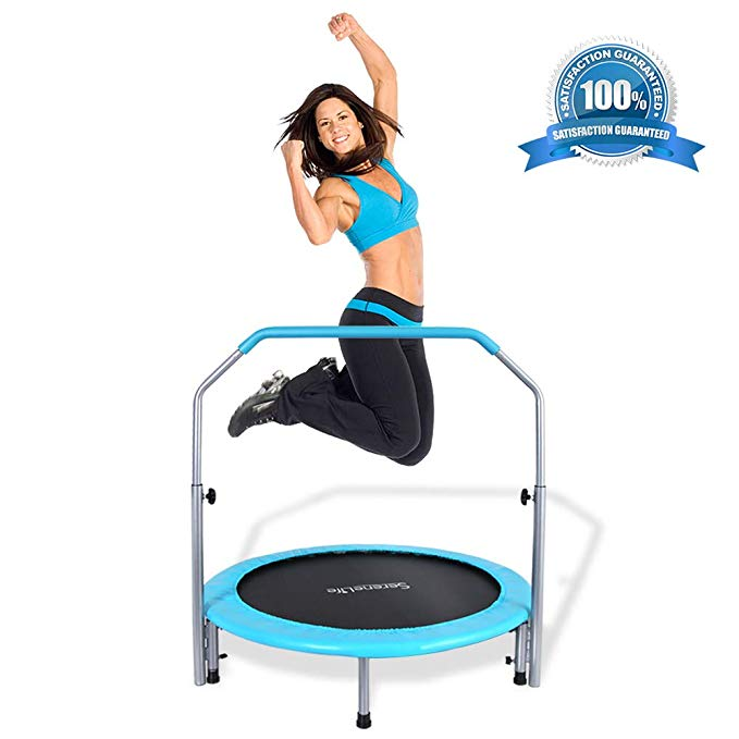Springfree Foldable Exercise Round Trampoline - 40 Inch Kid Safe Heavy Duty Portable Rebounder Bounce Gym Sport Fitness Jumping Mat Pad Kit w/Padded Frame, Adjustable Handle Bar - SereneLife SLELT403