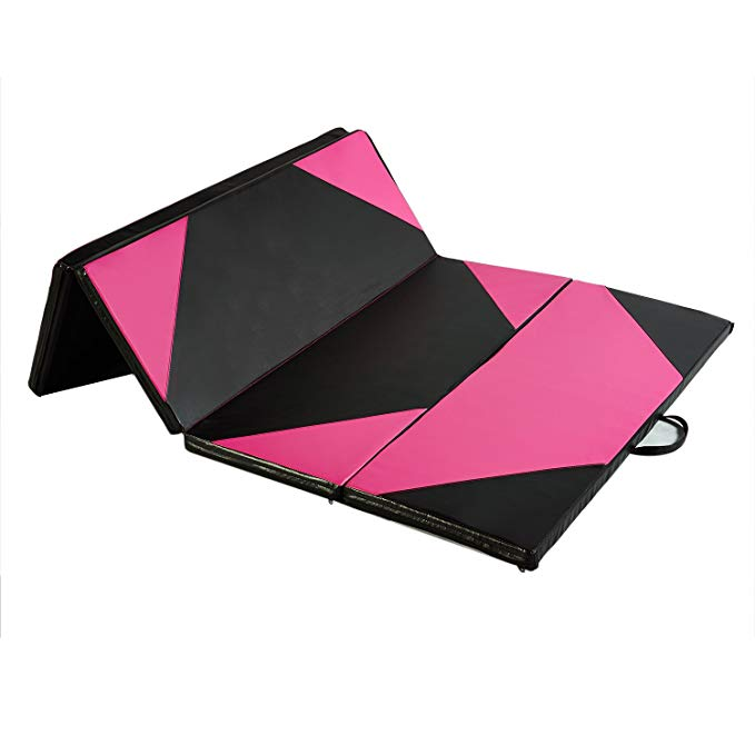 5A-Parts Foldable Gymnastic Exercise Aerobics Yoga Martial Arts Mat PU with Handles and Zipper Indoor Outdoor Parkour