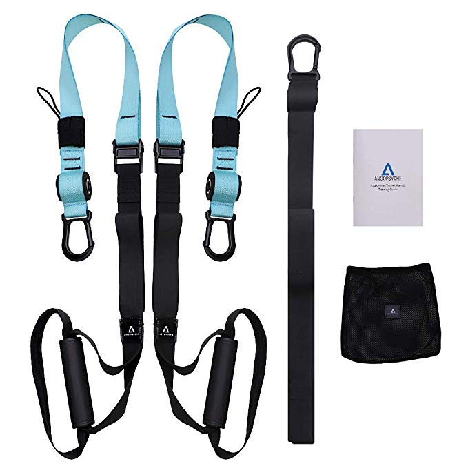 ANOOPSYCHE Bodyweight Fitness Resistance Trainer Kit with Body Workout Guide, Fitness Training Straps for Home or Professional Complete Body Workout
