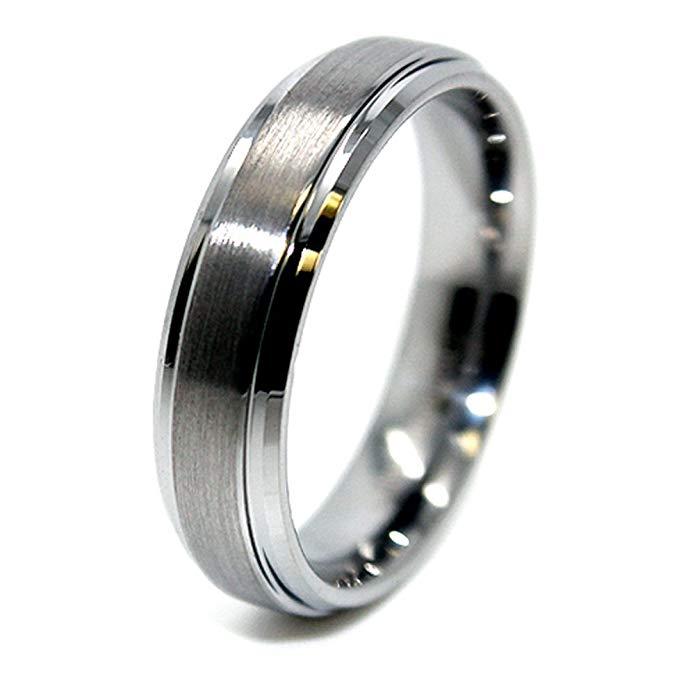 Unisex 6mm Tungsten Carbide Raised Satin Center Wedding Band