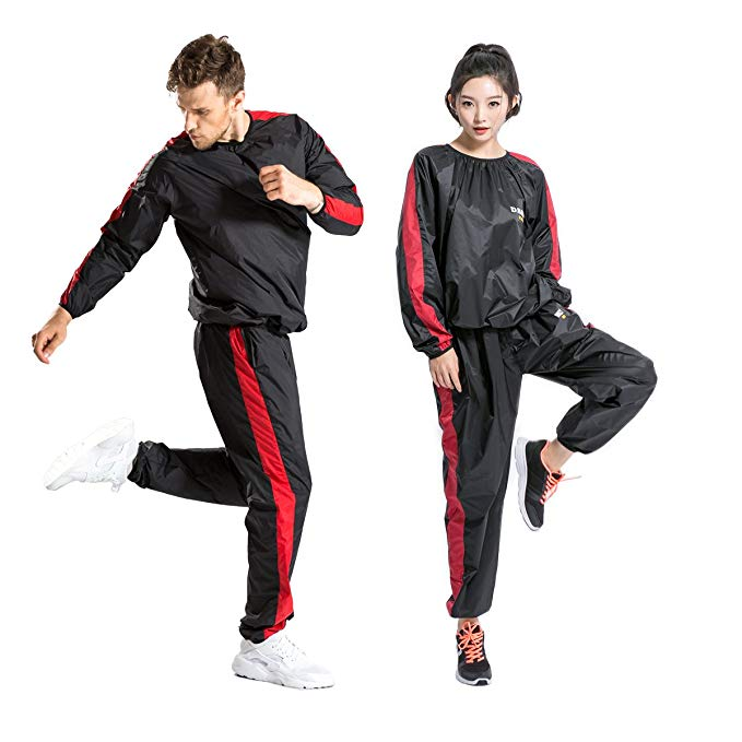 DNRZY Fitness Sweet Suits Unisex Anti-Rip Sport Suits Running Slimming Sauna Suit for Lose Weight Fat Burner Sweat Workout Clothes Durable Long Sleeves
