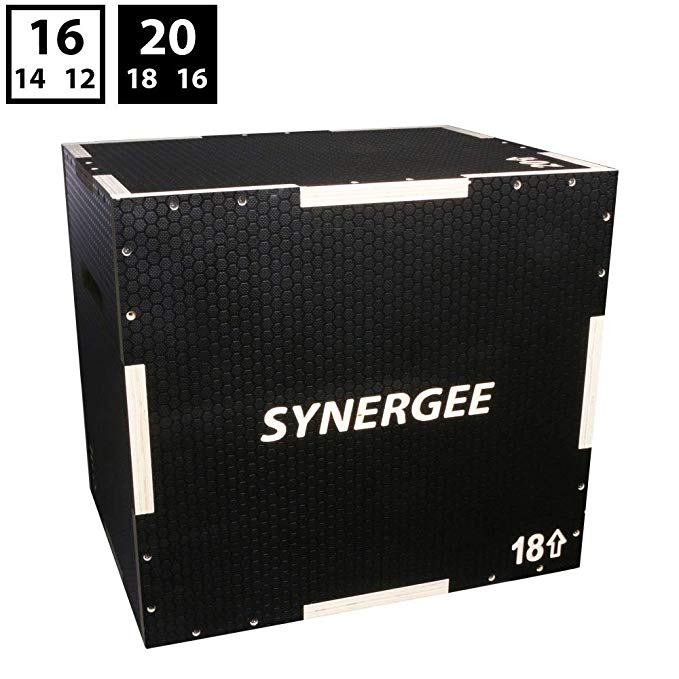 iheartsynergee 3 in 1 Non-Slip Plyometric Box Jump Training Conditioning. Wooden Plyo Soft Plyo Box All in One Jump Trainer. Sizes 20/18/16, 16/14/12