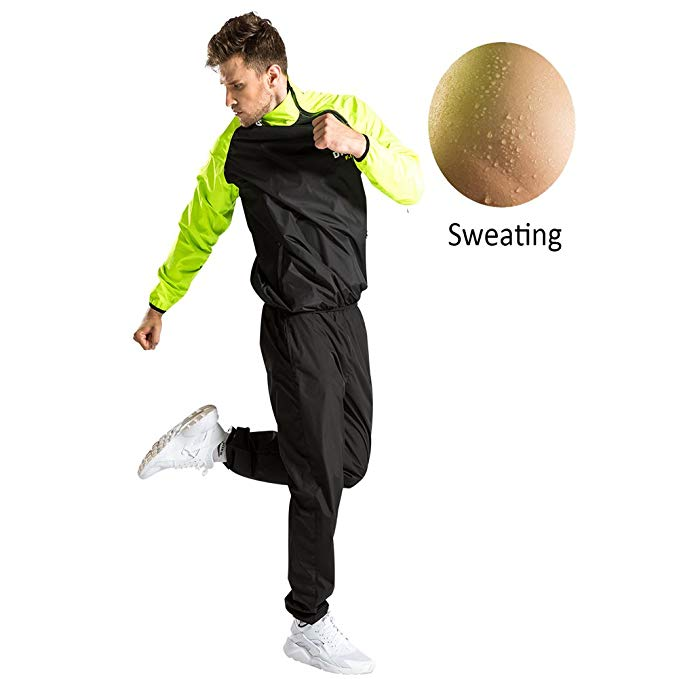 DNRZY Men Sport Suits Running Slimming Sauna Suit for Lose Weight Fat Burner Sweat Workout Clothes Fitness Durable Long Sleeves Overpull Slipover
