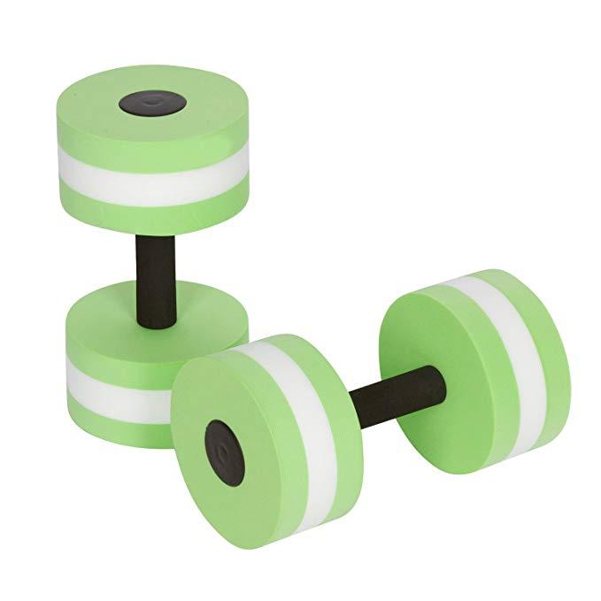 Water Dumbells,Ferryone Aqua Fitness Barbells Exercise Hand Bars,Set of 2 Foam Dumbbells(Green)