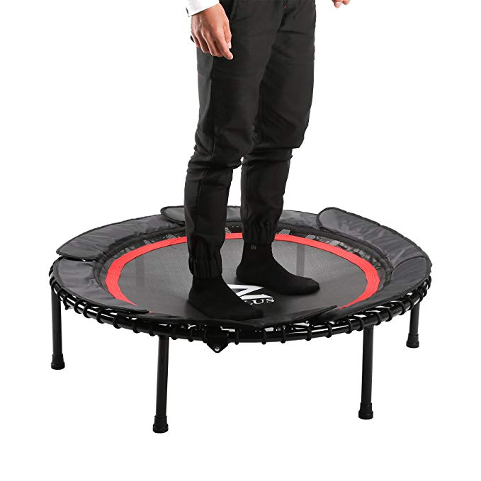 """ZELUS 40"""" Foldable Mini Trampoline Bungee Rebounder Trampoline w/Safety Bungee Cover & Textured Jump Mat, Safety & Minimal Assembly"""