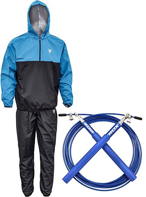 RDX MMA Sauna Sweat Suit Skipping Rope Adjustable Steel Gym Jump Exercise Training
