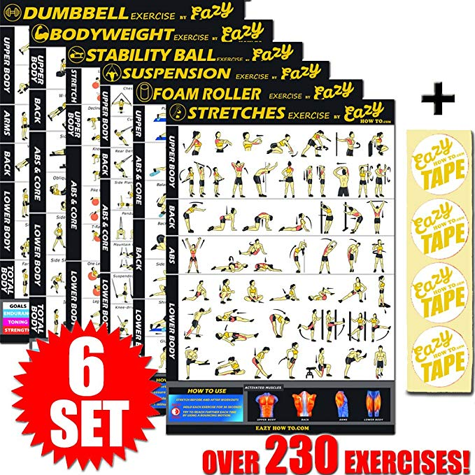 Multi Pack Workout Exercise Banner Poster Train Endurance, Tone, Build Strength & Muscle BIG Home Gym Chart 28 x 20