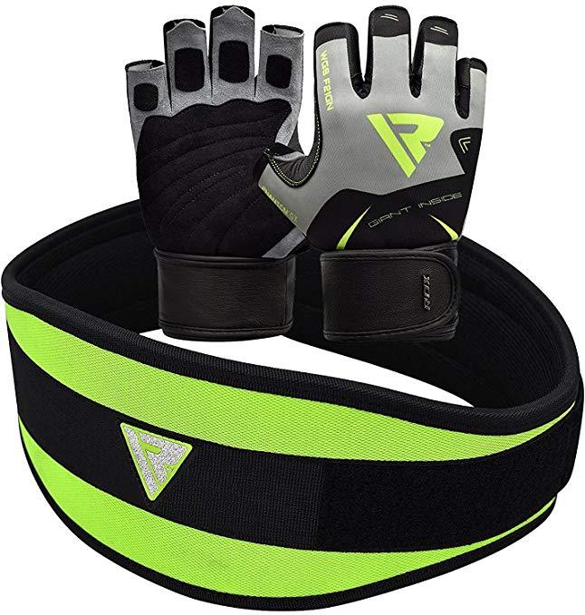RDX Gym Weight Lifting Gloves Neoprene Belt Back Fitness Exercise Bodybuilding