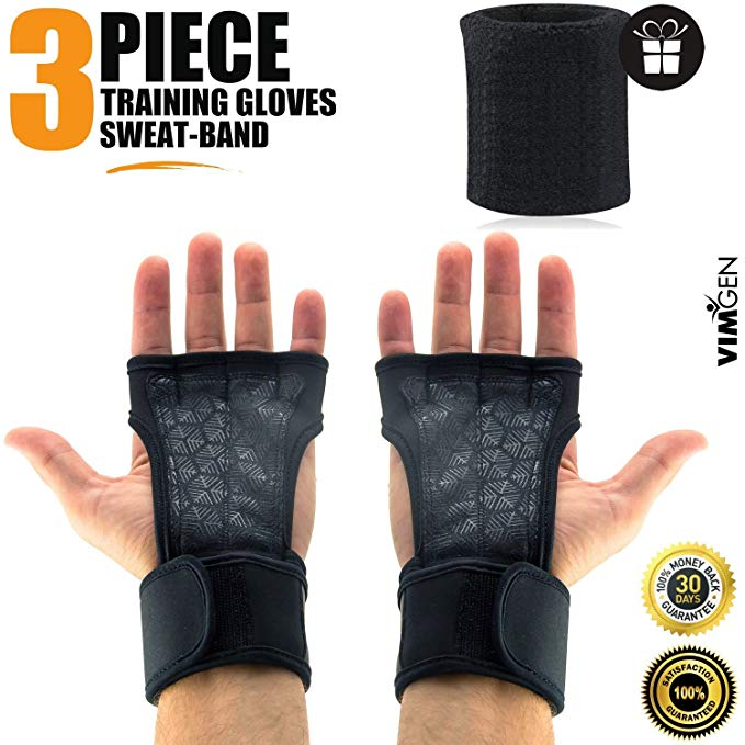 VIMGEN SPORTS WeightLifting Gloves with Silicone Padding Grip & Wrist Strap Support - Workout Gloves for Gym Exercise - Anti-sweat Technology - for Men & Women - Free Terry Sweat Band & CrossFit eBook