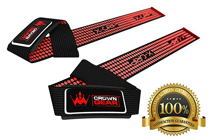 Neoprene Padded Weight Lifting Straps - In Red & Black - Hand Crafted for Wrist Comfort & Lifting Power - Best Cotton Weightlifting Strap That Enhance Grips & Strong Enough for Your Heavy Duty Pro Bodybuilding Dead Lifting Workout - Crown Gear Magnet Straps Regular or X-grip - 1 Year Replacement Warranty