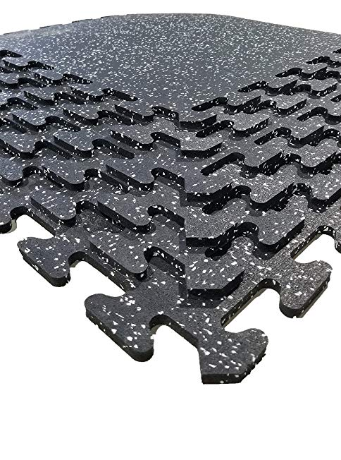POWERStock Premium High Density Recycled Rubber Home Gym Kit 100 Sq Ft (10 x 10 ft), FLEXfit Easy To Install Tight Fitting Interlocking Floor Tiles for Fitness